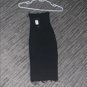 Fashionnova distressed black tube top dress